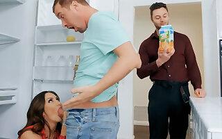 Wife's big tits seduced nanny to fuck hardcore