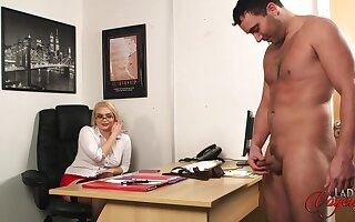 Secretary Steph watches her horny hotshot play helter-skelter his small dick