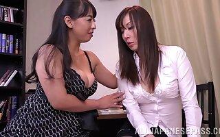 Japanese nancy coition between Ryouko Murakami and her lover