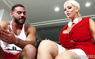 Housewife with king size boobs Alura Jenson bangs husband's numerous trainer