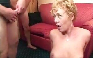 Hot blonde mature lady getting divers facials from different dicks