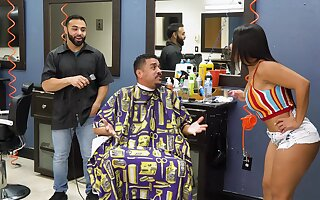 Electrifying barber shop fuck for on one's toes Rose Monroe