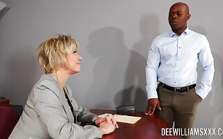 Busty of age rides the unthinking black dong all round fine office XXX
