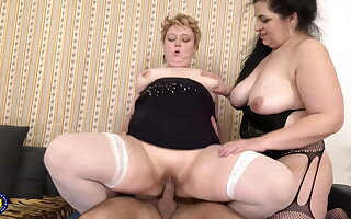 Taboo sex with regard to two BBW mature moms