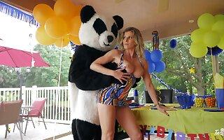 Panda bear fucks horny mature ahead of a birthday party