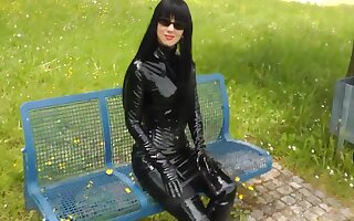 Fetish Young gentleman Walking Outdoors In Sexy Shiny Outfits
