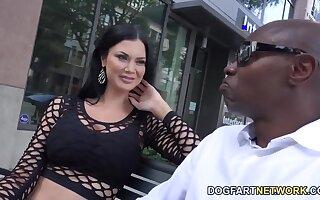 White milf Jasmine Jae is fucked hard by several black jocks