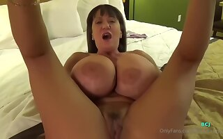 Cj Took Absent Her Stingy Raiment To Show Those Gigantic Milk Jugs Before Spreading Up Here