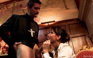Kinky fucking between a priest and naughty slut Lezley Zen