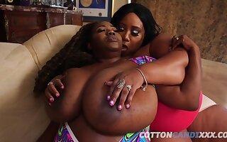 Cotton Candi & Summer Lashay - fantastic BBW ebony old lady in lesbian action