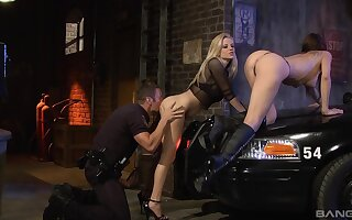 Fine babes try hard sex with a cop during team a few crazy threesome on a back byway someone's cup of tea