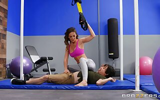 Fit woman rides a ache pole in insolent gym scenes