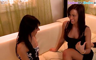 Dominant euro babes pegging together with smothering sub