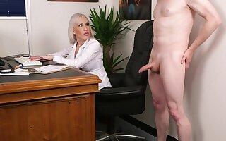 Aroused blonde fucked the new guy after a short rub in