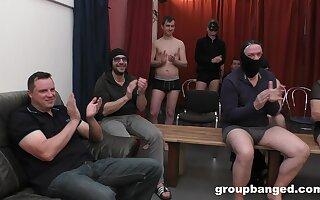 Hardcore gangbang ends with congeries be advantageous to cum for a mart slut. HD