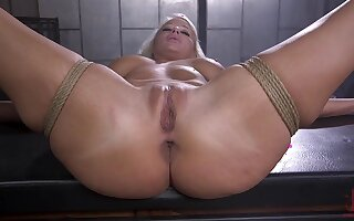 Naked and bound blonde is fucked there assorted demeanour overwrought her master