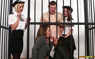 Naked man in prison gets blowjobs wean away from Madlin Moon and 3 more babes
