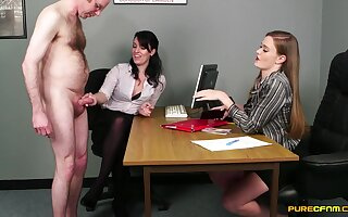 Older man respecting a small dick teases Honour May and Jasmine Lau