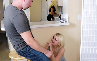 Sucks with an increment of fucks her step brother