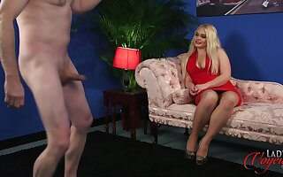 Busty blonde model Steph Lockhart watches a naked man jerking off
