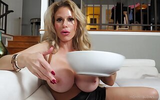 Liberality MILF wants the stepson to cream those giant melons