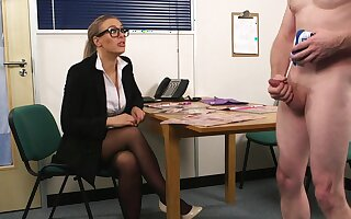 Sexual delight for a clothed assignation MILF in sensual CFNM job interview