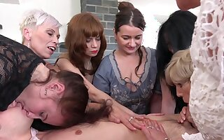 Dirty mature babes team up to have sex with a younger lover