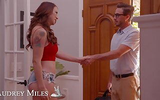 Tattooed redhead Audrey Miles drops on will not hear of knees far ask pardon him unending
