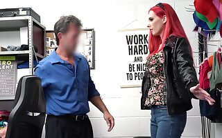 Redhead MILF Lilian Stone drops her threads coupled with rides a dick in the office
