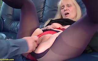 Saggy gut 85 life-span old mom gets roguish time rough and bottomless gulf doggystyle anal fuck
