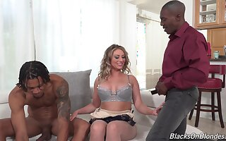 Sexy Kayley Gunner gets to bang with two black guys readily obtainable be imparted to murder same time