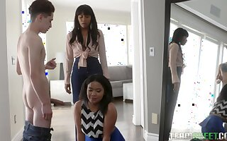 Red-letter threesome sex with two ebony stepsisters Jenna Foxx and Loni Legend