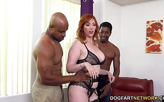 Very much hardcore interracial threesome with starving MILF in black stuff
