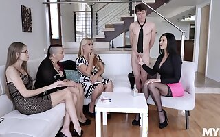 Lucky dude is treated with for detail oral petting by curvaceous sexpots