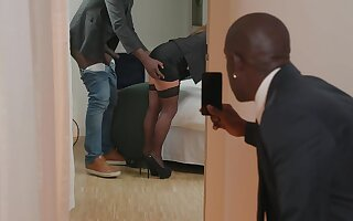 Interracial fucking with cock hungry office lassie Sexy Suzy