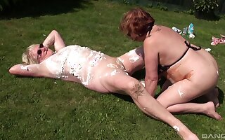 Messy and dirty outdoors sex with matures Trisha and Claire Knight