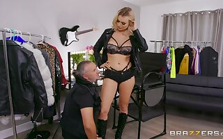 Intense blonde shows off in merciless femdom scenes