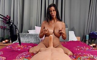 Mature pornstar Alexi Fawx with massive tits having sex with a doll