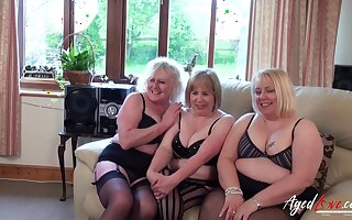 Three mature ladies feel so horny they all ride one hard cock
