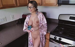 Kat Dior gets banged by hard friend's penis in the kitchen badly