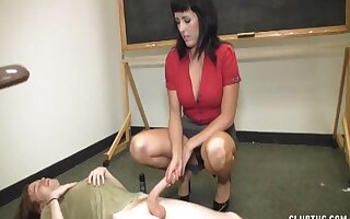 After the class brunette teacher loves to pleasure her best student