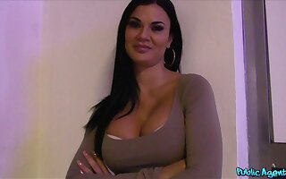 Amateur brunette with amazing set of tits gets fucked for money