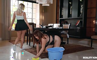 Chubby house maid gets pleasured by hot wife - Maggie Green, Dixie Lynn