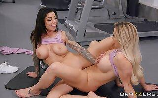 Gym lesbian sex with a long dildo. Amber Jade and Karma RX