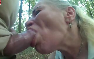 Pumped cock use poor hooker mouth and throat in forest