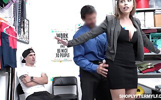 Office MILFie slut with nice curves Britney Amber works on cock far the office
