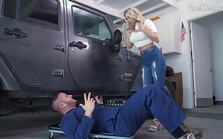Hardcore fucking by the car with fake boobs pretty good Katie Morgan