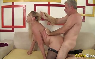 Mature blonde women enjoy their age-old pussies getting reamed unconnected with hard dicks in many positions