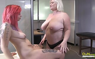 British mature star enjoying striptease and sex around lesbian side