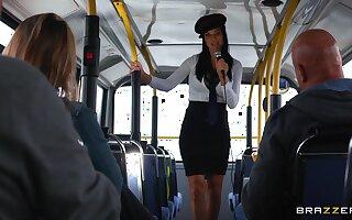Energized women shag congruent coxcomb in a bus
